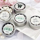 Kate Aspen Personalized Rustic-Theme Round Candy Tins (Set of 12)