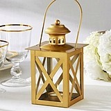 Kate Aspen Classic Matte-Gold-Colored Geometric Design Lantern