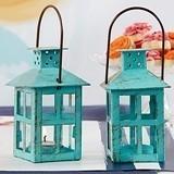 Kate Aspen Shabby Chic Vintage-Blue Metal Lantern