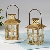 Kate Aspen Vintage-Look Small Distressed Gold-Colored-Metal Lantern