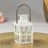 Kate Aspen Vintage-Look Small White Distressed Metal Lantern