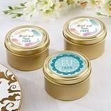Kate Aspen Boho Chic Personalized Gold Round Candy Tins (Set of 12)