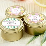 Personalized Cheery & Chic Designs Gold Round Candy Tins (Set of 12)