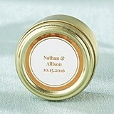Personalized Copper Foil Designs Gold Round Candy Tins (Set of 12)