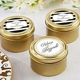 Classic Collection Personalized Gold Round Candy Tins (Set of 12)