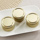 Kate Aspen Perfectly Plain DIY Gold Round Candy Tins (Set of 12)