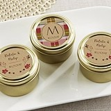 Personalized Fall Designs Gold Round Candy Tins (Set of 12)