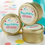 Happy Birthday Design Personalized Gold Round Candy Tins (Set of 12)