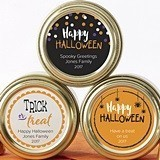 Personalized Halloween Designs Gold Round Candy Tins (Set of 12)