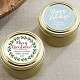 Personalized Holiday Designs Gold Round Candy Tins (Set of 12)