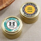 Tropical Chic Designs Personalized Gold Round Candy Tins (Set of 12)