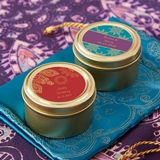 Indian Jewel-Tone Personalized Gold Round Candy Tins (Set of 12)