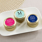 Personalized Gold Round Candy Tins with Wedding Designs (Set of 12)