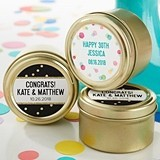 Party Time Designs Personalized Gold Round Candy Tins (Set of 12)