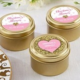 Sweet Heart Designs Personalized Gold Round Candy Tins (Set of 12)