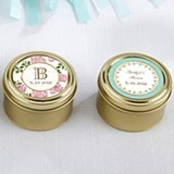 Tea Time Designs Personalized Gold Round Candy Tins (Set of 12)