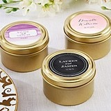 Personalized Gold Round Candy Tins in 14 Fun Designs (Set of 12)