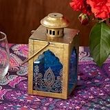 Kate Aspen Antiqued-Gold Indian Jewel Lantern with Henna-Style Print