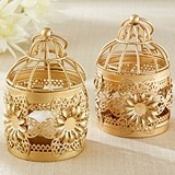 Kate Aspen Vintage-Inspired Birdcage-Shaped Gold Floral Lantern