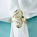 Kate Aspen Gold-Toned-Metal Seahorse Napkin Rings (Set of 4)