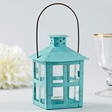 Kate Aspen Vintage-Inspired Metal Lantern with Distressed Blue Finish