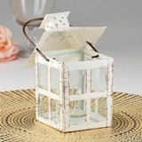Kate Aspen Vintage-Look Medium-Sized White Distressed Metal Lantern