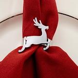 Kate Aspen Silver-Metal Prancinng Reindeer Napkin Rings (Set of 4)