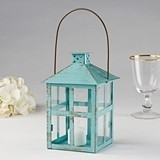Kate Aspen Vintage-Look Distressed Blue Finish Large Metal Lantern