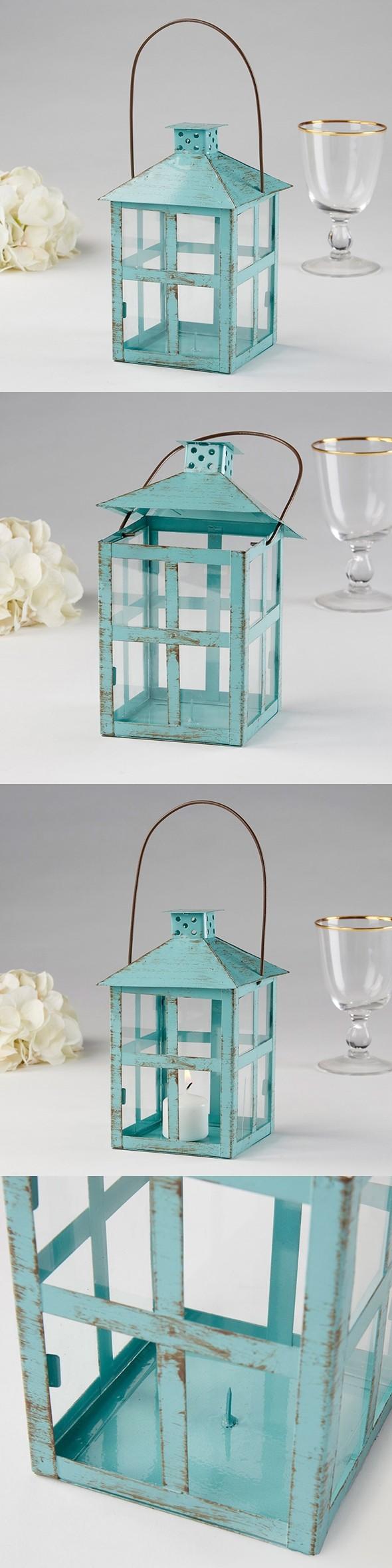 Kate Aspen Vintage-Look Distressed Blue Finish Large Metal Lantern