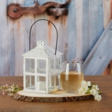 Kate Aspen Vintage-Look Distressed White Finish Large Metal Lantern