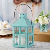 Kate Aspen Vintage-Look Distressed Blue Extra Large Metal Lantern