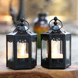 Kate Aspen Black Hexagon-Shaped Mini Lanterns (Set of 6)