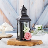 Kate Aspen Antique Black-Metal Lantern with Ornate Details - Small