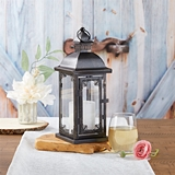 Kate Aspen Antique Black-Metal Lantern with Ornate Details - Medium