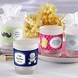 Kate Aspen Adorable Personalized Frosted-Glass Baby Shower Votives