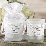 Personalized 'The Hunt is Over' Antler-Motif Frosted-Glass Votives