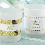 Kate Aspen Personalized Frosted Glass Votive (6 Gold Foil Designs)