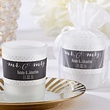 Kate Aspen Personalized Mr. & Mrs. Design Frosted-Glass Votives