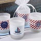 Nautical Child's Birthday Personalized Frosted-Glass Votives