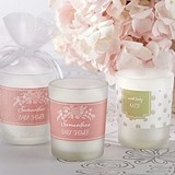Kate Aspen Rustic Baby Shower Personalized Frosted-Glass Votives