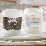 Kate Aspen Rustic Bridal Shower Personalized Frosted-Glass Votives