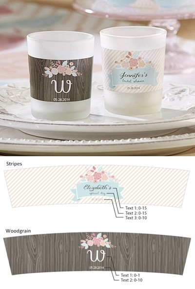 kate aspen rustic bridal shower personalized frosted glass votives
