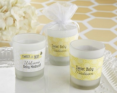 personalized sweet as can be bridal shower frosted glass votives