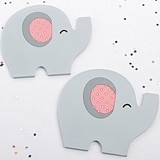 Kate Aspen 'Little Peanut' Pink Elephant-Shaped Coasters (Set of 2)