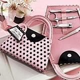 Kate Aspen Pink and Black Polka Dot Purse-Shaped Manicure Set