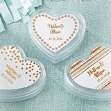 Heart-Shaped Favor Containers with Copper Foil Designs (Set of 12)