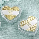 Heart-Shaped Favor Containers with Gold Foil Designs (Set of 12)