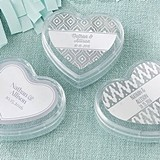 Heart-Shaped Favor Containers with Silver Foil Designs (Set of 12)