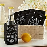 Eat, Drink and Be Married Collapsible Cold-Can Holders (Set of 12)