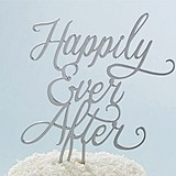 "Kate Aspen Silver Script ""Happily Ever After"" Cake Topper"